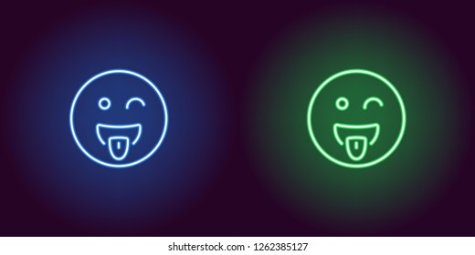 Neon illustration of teasing emoji. Vector icon of cartoon teasing emoji with tongue and squinting face in outline neon style, blue and green colors. Glowing emoticon with backlight