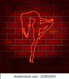 Neon image of dancing striptease on a brick wall , vector illustration