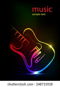 neon ink guitar,  easy all editable