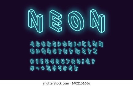 Neon isometric alphabet, Azure color. Neon outlined Font with set of isometric glowing letters, numbers, currency and different signs and symbols. Vector 3d typeface for typography design