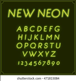 Neon Italic Font Type Alphabet. Glowing in Vector. With Numbers.