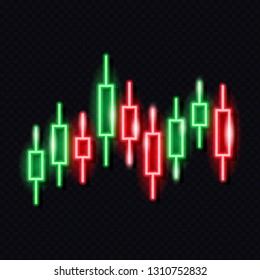Neon japanese candlestick chart isolated on dark background. Stock exchange market concept. Financial infographics. Design element for glowing signboard. Vector 10 EPS illustration.