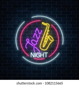 Neon jazz cafe with saxophone glowing sign in circle frame on a dark brick wall background. Glowing invitation to jazz night in music bar. Vector illustration.