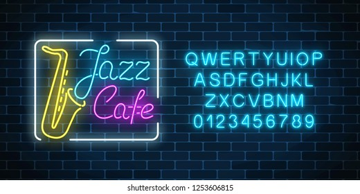Neon jazz cafe and saxophone glowing sign with alphabet on a dark brick wall background. Glowing street signboard of bar with karaoke and blues singers. Vector illustration.