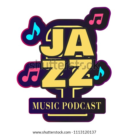 Neon Jazz Music Podcast Retro Microphone Stock Vector (Royalty Free