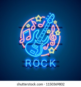 Neon label music rock banner. template design element. Vector illustration