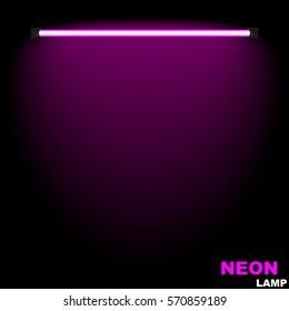 Neon lamp.The glow on the wall (purple)
