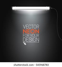 Neon lamp. Lighting neon tubes. Vector illustration for your design.