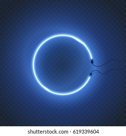 Neon lamp wall sign isolated on transparent background. Blue electric glow light circle. Vector round neon bulb banner for advertising design