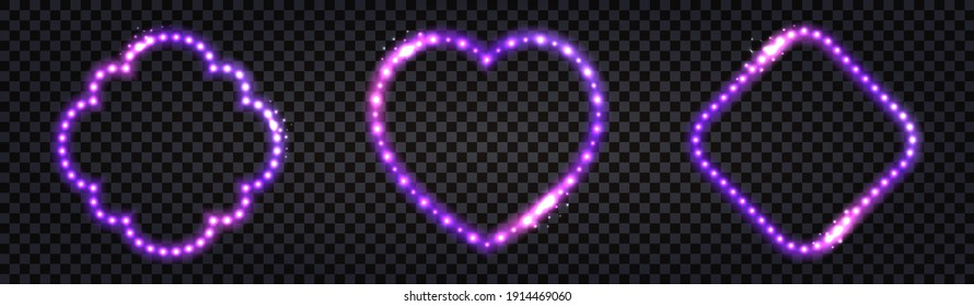 Neon LED frames with purple lglowing light effect. Luminous borders, illuminated garlands for night decoration. Set of isolated frame on dark transparent backgrounds. Vector illustration