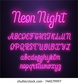 Neon lettering font. Vector illustration.