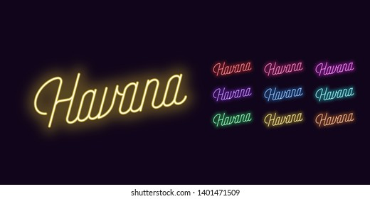 Neon lettering of Havana name. Neon text of Havana city. Set of glowing inscription with transparent backlight for design. Red pink purple violet blue azure green yellow orange color