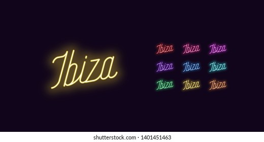 Neon lettering of Ibiza name. Neon text of Ibiza island. Set of glowing inscription with transparent backlight for design. Red pink purple violet blue azure green yellow orange color