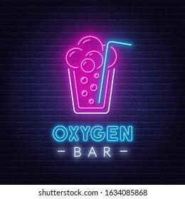 Neon lettering oxygen bar. Neon sign oxygen cocktail.