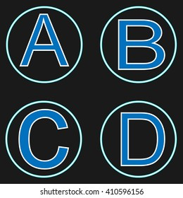 Neon letters. ABCD