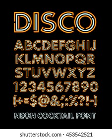 Neon letters. Alphabet and number vector illustration.