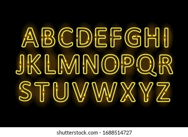 Neon letters. Graphic template. Vector background