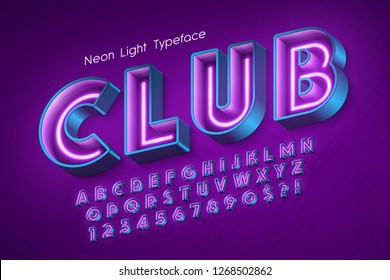 Neon light 3d alphabet, extra glowing font. Swatch color control. 13 degree skew.