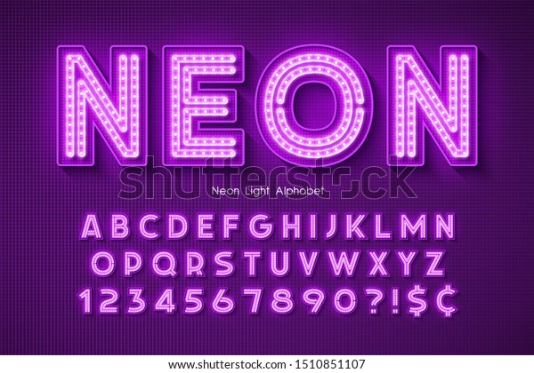 Neon light 3d alphabet, extra glowing font. Swatch color control.