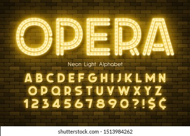 Neon light 3d alphabet, led extra glowing font. Swatch color control.