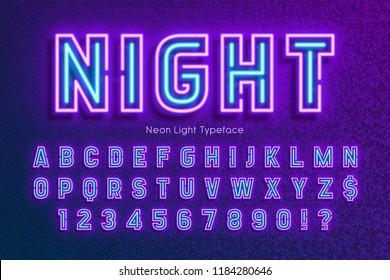 Neon light alphabet, extra glowing font. Exclusive swatch color control.