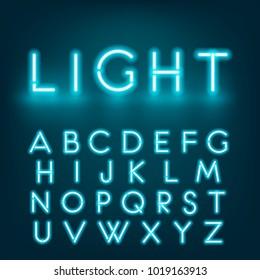 Neon light alphabet font. Graphic concept for your design