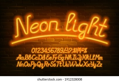 Neon Light alphabet font. Yellow neon color letters, numbers and symbols. Uppercase and lowercase. Stock vector typescript for your design.
