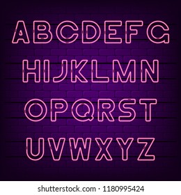Neon light alphabet. Glowing neon font. Vector typeface.