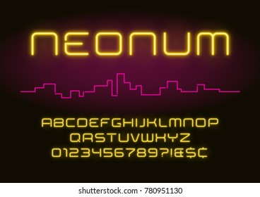 Neon light alphabet, realistic extra glowing futuristic font. Exclusive swatch color control.