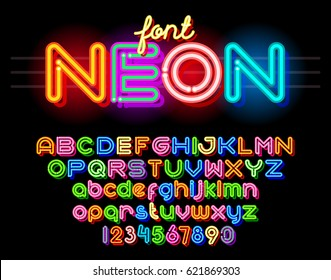 Neon Light Alphabet Vector Font. Neon tube letters on dark glow red background