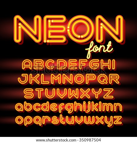 neon light alphabet vector font neon tube letters on dark background uppercase and small