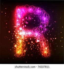Neon Light Alphabets. Letter R