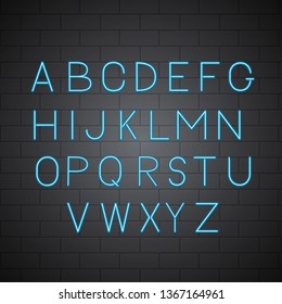 Neon light blue vector alphabet on brick wall background. Sans serif font. Glowing latin uppercase letters. Typeface for headlines, banners, signboards, posters, etc. Easy to edit design template.