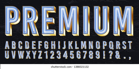 Neon light box font. Premium glowing letters, golden alphabet and elite gold lettering with neons lights 3d vector illustration set