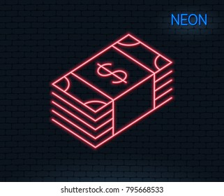 Neon light. Cash money line icon. Banking currency sign. Dollar or USD symbol. Glowing graphic design. Brick wall. Vector