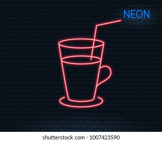Neon light. Coffee or Cocktail line icon. Fresh drink sign. Beverage symbol. Glowing graphic design. Brick wall. Vector