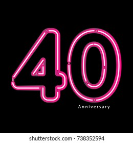 Neon light effect celebrating, anniversary of number 40th year anniversary, neon pink for invitation card, backdrop, label or stationary