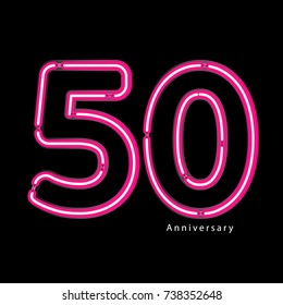 Neon light effect celebrating, anniversary of number 50th year anniversary, neon pink for invitation card, backdrop, label or stationary
