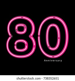 Neon light effect celebrating, anniversary of number 80th year anniversary, neon pink for invitation card, backdrop, label or stationary