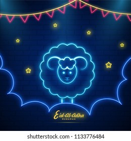 Neon light effect illustration of sheep animal on brick wall decorated with red bunting flag and stars for Islamic community festival of Eid Al Adha celebration.