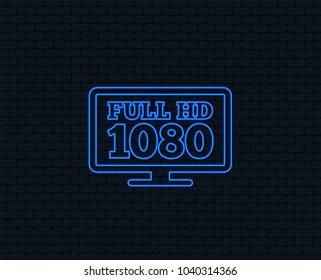 Neon light. Full hd widescreen tv sign icon. 1080p symbol. Glowing graphic design. Brick wall. Vector