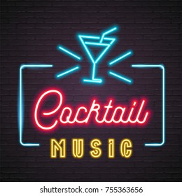 Neon Light Glowing Cocktail Music with Cocktail Glass Symbol Graphic Vector