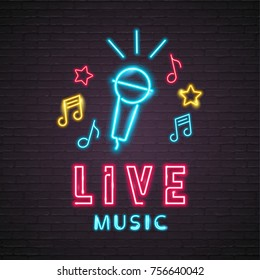 Neon Light Glowing Live Music with Microphone Symbol Music Note Icon Graphic Vector Illustration Silhouette Design