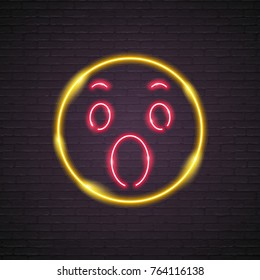 Neon Light Glowing Wow Symbol Icon Graphic Illustration Red and Yellow Colour