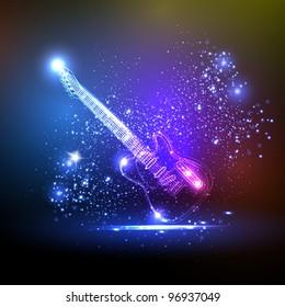 neon light guitar, grunge music