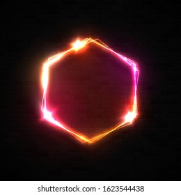 Neon light hexagon shape banner on black brick wall background. Dark red 3d sign with star flash for nightlife bar club street design template. Retro bright electric hexagon frame vector illustration.