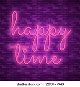 Neon light lettering, Stock vector. Happy time