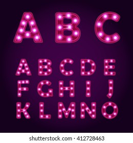 Neon light letters Alphabet ABC, vector font illustrations, Lightbulb