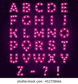Neon light letters Alphabet, Neon light letters ABC, Neon light letters vector font,Neon light letters illustrations,Neon light letters Lightbulb