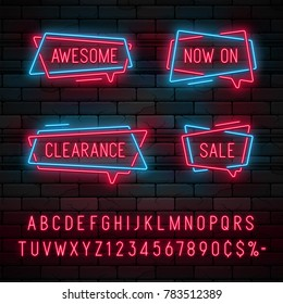 Neon light linear promotion ribbon banner, price tag, discount. Swatch color control